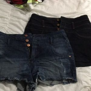 High wasted dark Jean shorts bundle